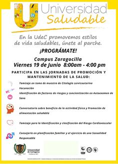 Jornada Universidad Saludable Campus Zaragocilla #Unicartagena Risk Factor, Healthy Living, University, Wellness, Universe