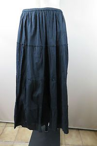 Size L 14 Maxi Black Skirt Casual Gothic Boho Peasant A Line Tier Edgy Style | eBay