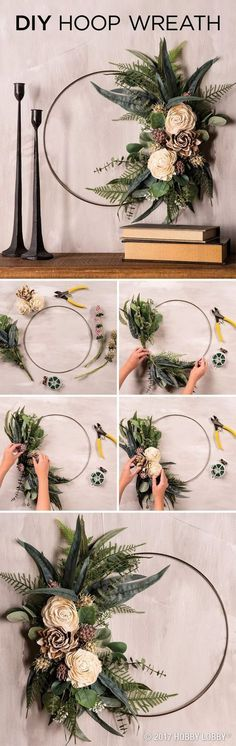 , Elevate any space with an elegant DIY hoop wreath! To DIY: Clip floral stems, leaving just enough to attach flowers to the ring with floral wire. , Elevate any space with an elegant DIY hoop wreath! To DIY: Clip floral stems,. Christmas Wreaths, Christmas Crafts, Christmas Decorations, Xmas, Christmas Room, Diy Christmas Arrangements, Recycled Wedding Decorations, Parties Decorations, Modern Christmas