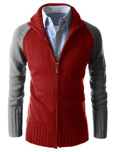 Good Thermal 2 Color Coloration Turtle Neck Zip Up Long Sleeve Cardigan at Amazon Men's Clothing store: