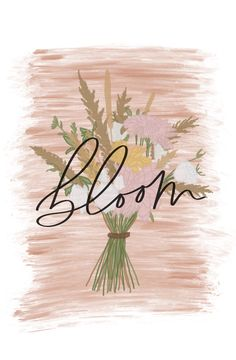 Beautiful and elegant BLOOM Sticker. This is one of my original hand lettering art print. Handwritten Quotes, Modern Calligraphy, Be Yourself Quotes, Hand Lettering, Bloom, Paper, Handmade, Art, Art Background
