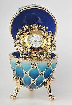 Blue-Egg-with-Clock-Trinket-Box-by-Keren-Kopal-Faberge-Egg-Austrian-Crystal