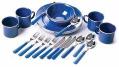 High Quality Enamel 24-Piece Blue Tableware Set Indoor Outdoor Camping #tableware