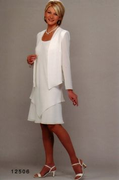 Ursula 12506 High Twist Crepe Knee Length Evening Jacket Dress  (Missy, Plus Sizes)