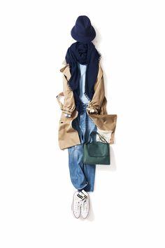 2017-01-10 冬のパステル 春の息吹を感じる今日は、トレンチを着たくなりました。ベビーブルーを合わせて、気持ちも彩りもリフレッシュ!