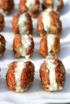 One-bite Caramelized Pecans Stuffed with Blue Cheese.