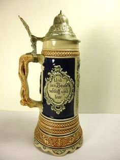 "VINTAGE PEWTER LIDDED WESTERN GERMAN BEER STEIN 11.5""TALL"