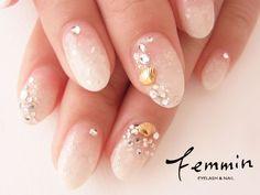 シェル×シェル☆ 【Femmin】 http://nail-beautynavi.woman.excite.co.jp/design/detail/28202?pint ≪ #nail #nails #nailart #softgel #natural #ネイル #ナチュラル #ソフトジェル≫