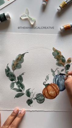 Watercolor Art Lessons, Watercolor Video, Watercolor Painting Techniques, Watercolor Landscape Paintings, Wreath Watercolor, Diy Painting, Painting & Drawing, Easy Canvas Art, Guache