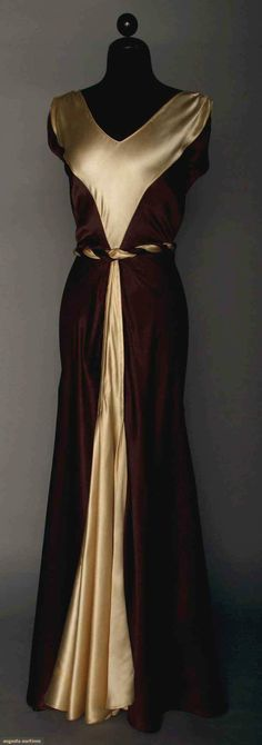 Fashion from the 1920s & 1930s = beautiful!  Satin Evening Gown, 1930s, Augusta Auctions, April 9, 2014 - NYC