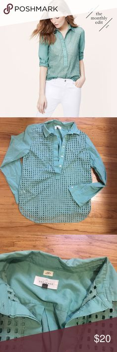 LOFT Eyelet Popover Shirt Cute half button up shirt with eyelet detail on front. In great condition! LOFT Tops