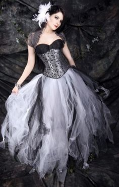 Black White Grey Trashy Formal Prom Wedding Tulle Skirt Adult Small  | MTcoffinz - Clothing on ArtFire