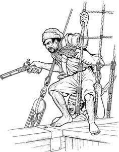 Dessin de pirate avec un pistolet