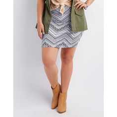Charlotte Russe Printed Bodycon Mini Skirt ($14) via Polyvore featuring plus size women's fashion, plus size clothing, plus size skirts, plus size mini skirts, blue combo, body con skirt, plus size chevron skirt, womens plus size skirts, short mini skirts and charlotte russe