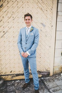 Light blue and lilac wedding suit | Image by Frankee Victoria Photography