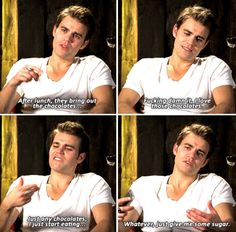 Paul Wesley & his guilty pleasure at craft services.