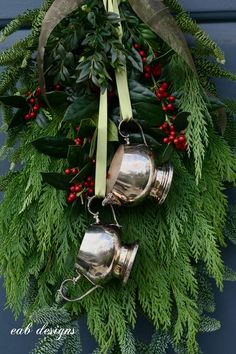 Christmas Door Swag - {love the use of greens but MINUS the dishes. Cones or a small bird would be great}