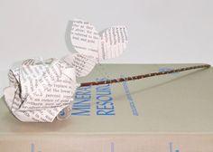 Literary Flower Single 12-Inch Origami Rose by LiteraryGarden