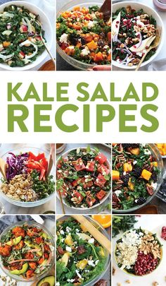 recipes kale salad todas las recetas ensalada de col rizada tutte le ricette insalata di cavolo nero {g} Best Kale Salad Recipe, Kale Salad Recipes, Salad Recipes For Dinner, Salad Dressing Recipes, Chicken Salad Recipes, Healthy Recipes, Dressing For Kale Salad, Kale Chicken Salad, Free Recipes