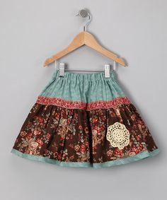 Teal Floral Skirt - Girls