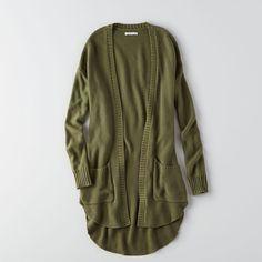 AEO Long Pocket Cardigan ($22) ❤ liked on Polyvore featuring tops, cardigans, long cardigan, pocket tops, cardigan top, olive cardigan and long tops