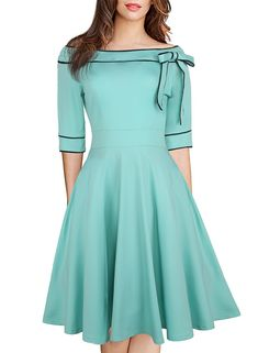 online shopping for HELYO Women's Casual Off Shoulder Pocket Bowknot Rockabilly Swing Vintage Cocktail Party Dress 188 from top store. See new offer for HELYO Women's Casual Off Shoulder Pocket Bowknot Rockabilly Swing Vintage Cocktail Party Dress 188 Elegant Dresses, Pretty Dresses, Vintage Dresses, Beautiful Dresses, Casual Dresses, Women's Casual, 1950s Dresses, Dresses Dresses, Vintage Clothing