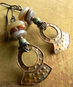 Copper Metal Clay Shield Earrings with Ocean by ChrysalisToo