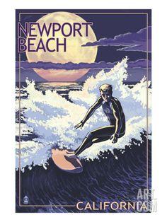 Newport Beach, California - Night Surfer Print by Lantern Press at Art.com