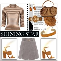A fashion look from September 2015 by fashionchronicles365 featuring Tabitha Simmons, Cole Haan, Michael Kors, Aspinal of London, The Sak, stripes, handbag, pul...