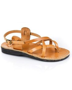 e0e0d05931dbc Tamar (Buckle) - Leather sandals handmade in Jerusalem featuring cross  straps and a slingback