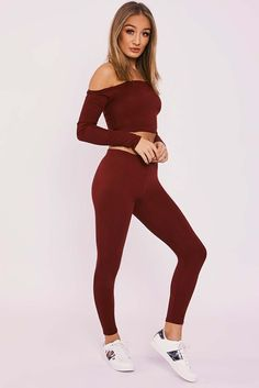 CAELIA WINE RIBBED BARDOT LEGGING LOUNGESET
