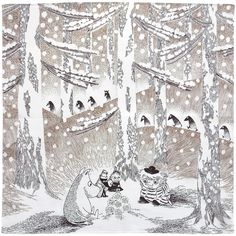 Illustration from the book 'Moominland Midwinter' by Finnish author and artist Tove Jansson Art And Illustration, Illustration Inspiration, Tove Jansson, Les Moomins, Moomin Valley, Female Art, Artwork, Fairy Tales, Art Drawings