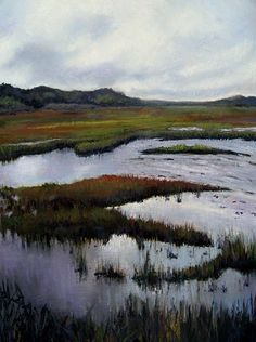 pastel painting of scorton marsh in early fall