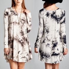 VANDA tie dye tunic dress - MOCHA/ IVORY Tie-dye, tunic dress featuring an A-line silhouette. Unlined. Non-sheer. Lightweight. 95%RAYON 5%SPANDEX. PRICE FIRM Dresses Long Sleeve