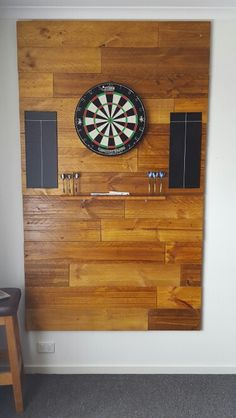 Dart board backing all made from pallets and stained