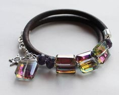 Leather wrap bracelet with chunky rainbow quartz, faceted amethyst and sterling silver beads on 5mm dark brown natural leather cord.
