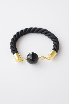 Black Rope Bracelet, Onyx Bracelet, Onyx Jewelry, Black Bracelet, Good Luck Bracelet, Friendship Bracelet, Love Bracelet, For Her #etsy #etsyretwt