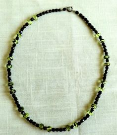 Sterling Silver Black Green Plastic Bead Necklace Choker Excellent Free Shipping #Unbranded #Choker