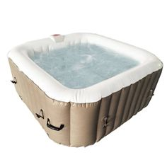 Find deep relaxation in your own backyard oasis with this square inflatable hot tub. This spa provides all of the mental and physical health benefits of a traditional hot tub with a more convenient installation process. The personal spa a. Traditional Hot Tubs, Acrylic Bench, Round Hot Tub, Hot Tub Cover, Hot Tub Backyard, Spa Tub, Deep Relaxation, Sit Back And Relax, Jet
