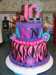 Glitzy Girl Birthday Cake