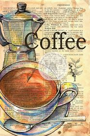 Coffee by Kristy Patterson (Flying Shoes Art Studio), drawings on dictionary pages