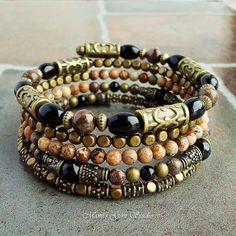 Black and Brown Gemstone Memory Wire Bracelet by mamisgemstudio