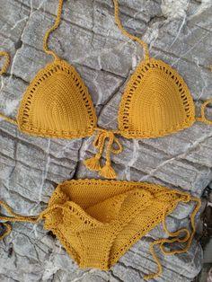bikini amarillo mostaza  Boho Bikini cadena Bikini Vintage