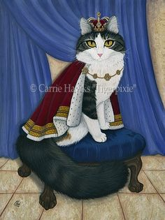 """Prince Anakin The Two Legged Cat, Anakin Two Legged Cat, Little Prince Cat, Cat, 2 Legged Cat, Biped Cat, Cat painting, Prints & Gift Items on my website. © Carrie Hawks, Tigerpixie Art Studio, Fantasy Cat Art http://Tigerpixie.com More about Anakin ~ """"Ani"""" is our two legged cat, born without a pelvis or back legs but that doesn't stop him. He is full of love & life! Anakin's Anakin on YouTube ~ http://www.youtube.com/Tigerpixie Anakin's Website ~ http://AnakinTwoLeggedCat.com"""