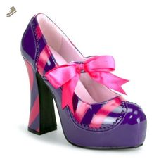 4 Inch Heel Sexy Shoes Purple Pink Mary Jane Shoes Theatre Costumes Accessory Size: 9 - Summitfashions pumps for women (*Amazon Partner-Link)