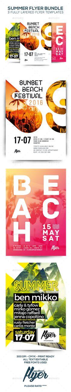 Summer Flyer Bundle Templates PSD. Download here: http://graphicriver.net/item/summer-flyer-bundle/16231177?ref=ksioks