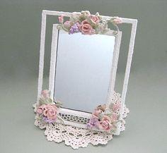 shabby chic mirror decor decorative mirror white mirror flower mirror bathroom mirror cottage chic mirror floral