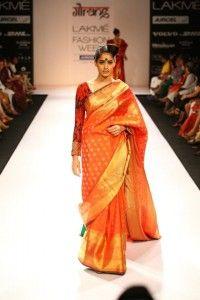 Golden orange saree