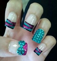 Turquoise, Pink, and Black nail design