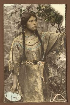 Chippewa Woman's Beaded Hide Dress with Hand-Tinted Photograph, - Cowan's Auctions